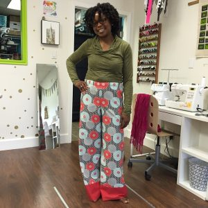 Ora made her new favorite pajama pants at Sew today #teacherslovespringbreaktoo #SewHouston #sewingclass #cypresstx #katytx