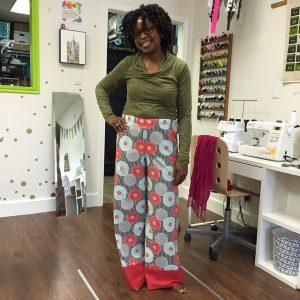 Ora made her new favorite pajama pants at Sew today #teacherslovespringbreaktoo #SewHouston #sewingclass #cypresstx #katytx